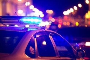 blue lights cops car
