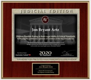 Jon Bryant Artz Awarded With The 2020 AV Preeminent Rating by Martindale-Hubbell