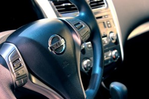 A steering wheel of a car